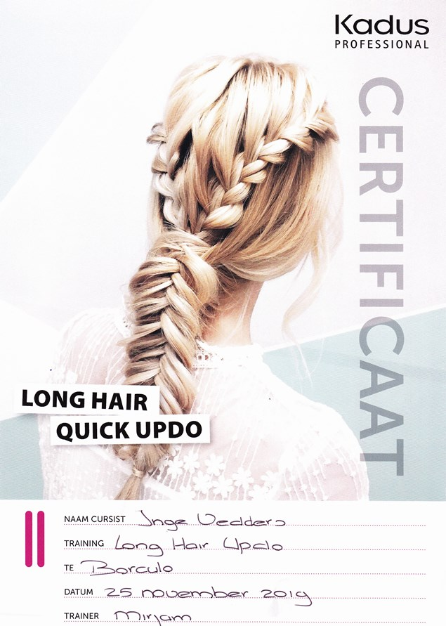 Haarstijl Inge - trainingen - Long Hair Quick Updo - opsteek training lang haar certificaat